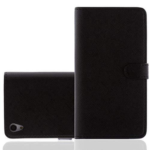 Bookstyle Handytasche kompatibel mit Sony Xperia M Schutzhülle PU Ledertasche für Sony Xperia M Hülle mit Kartenfach Schwarz