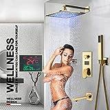 Gnailur Gold Digital Ducha Faucets Set LED Cabeza de ducha Cabeza de ducha Dinámica Digital Dinámica DIGITAL MEZCLADOR TAP TUB TUB SPOUCIÓN Ducha-Juego de ducha de 8 pulgadas