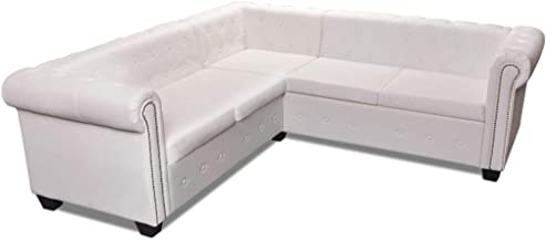 vidaXL 5 Seater Chesterfield Corner Leather Sofa Couch Chaise Lounge Bed White