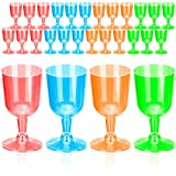 DecorRack 24 Neon Wine Glasses, 6 Oz Plastic Party Wine Cups, Perfect for Outdoor Parties, Weddings, Picnics, Stackable, Reusable, Disposable Stemmed Clear Wine Glasses (Pack of 24)