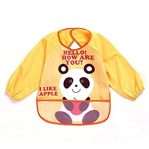 oral-q Unisex niños Childs artes manualidades pintura delantal bebé babero impermeable con mangas y bolsillo, 6–36meses, un amarillo oso panda, juego de 1