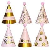 Partyhüte, 6 PCS Geburtstagsfeierkegelhüte mit Pompons, Partyhüte aus Papier,...