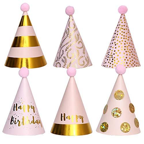 Partyhüte, 6 PCS Geburtstagsfeierkegelhüte mit Pompons, Partyhüte aus Papier, Kuchengeburtstagsfeierkegelhüte für Kinder, Partydekorationen (Pink)