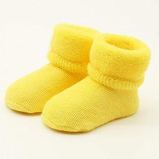 QWERGLL, 0 – 24 M Calcetines de algodón para bebé recién Nacido, Calcetines de Invierno para bebé, niño o niña, Calcetines Antideslizantes