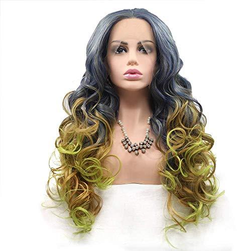 Rnwen Postizos Coloreado Ladies Europe y Wig Set en Medio de la Peluca de Fibra química-Verde-Pelo Largo y Rizado-Degradado-Multicolor Postizos