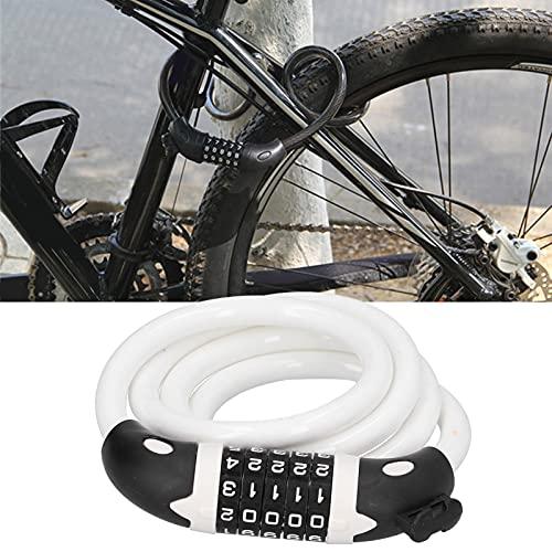 Bloqueo de Anillo de Seguridad para Bicicletas, establezca su Propia contraseña Personalizada Bloqueo de contraseña de Bicicleta Bobinado automático para Parrillas al Aire Libre Equipo de(White)