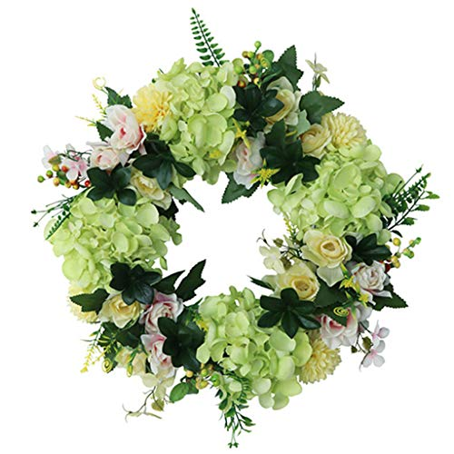WDFVGEE Hydrangea Wreaths Artificial Flower for Front Door Outdoor Spring Summer Wreaths Holiday celebration wall decoration