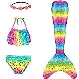 Mermaid Tails for Swimming Girls Swimsuit Princess Bathing Suit Bikini Rainbow