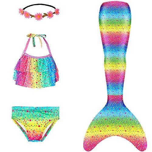 Mermaid Tails for Swimming Girls Swimsuit Princess Bathing Suit Bikini Set Rainbow