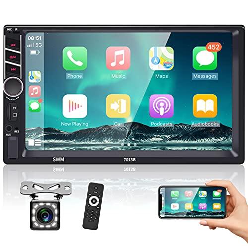 Podofo Autoradio Bluetooth Carplay 2 din con 7 Pollici Schermo Retrocamera Stereo Auto Radio Macchina Stereo Macchina Touch Screen FM/USB/BT/MP5