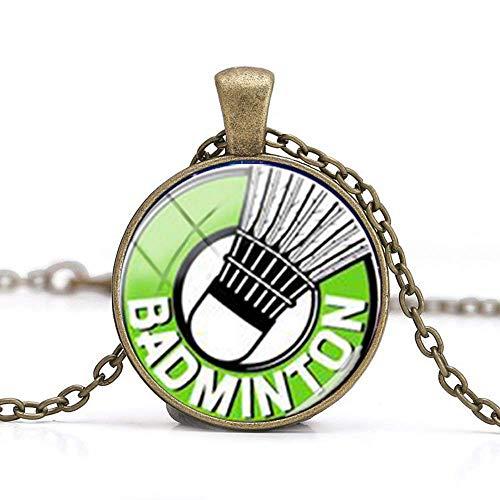 Badminton-Halskette mit Anhänger, Geschenk für Freunde, Vintage-Kunst, Foto-Schmuck, handgefertigter Schmuck