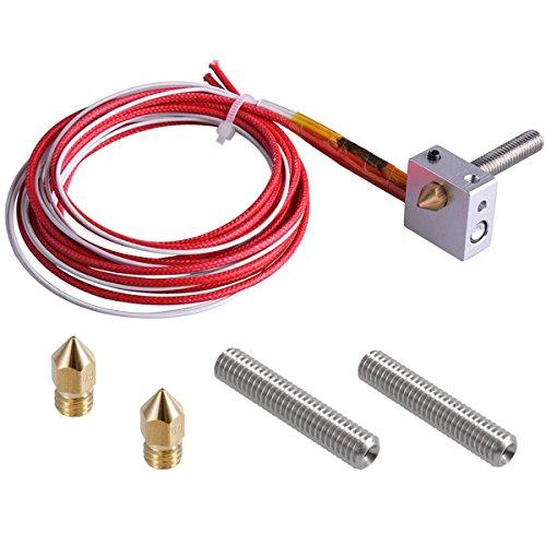 EAONE 3D Printer Parts Accessory Hot End Assembled Extruder Kits 1.75mm Filament Direct Feed 12V 0.4mm Nozzle (Bonus: 2 pcs Extruder Tube & 2 pcs Brass Nozzle)