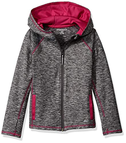 Amazon Essentials Girls' Full-Zip Active Jacket, Grey Spacedye, M (8)