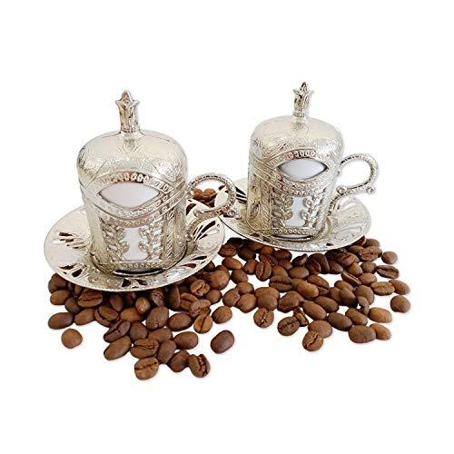 Türkische griechische arabische marokkanische Kaffeetasse – 2er-Set – Espressotasse mit innerem Porzellan-Metallhalter und Deckel – 2 Tassen besteht aus 8 Teilen – beste Geschenkidee (Silber)