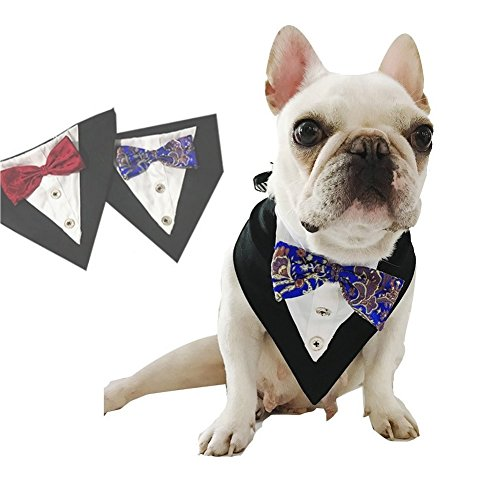 CheeseandU Wedding Collar for Pets Tuxedo Bandana with Bowtie and Botton Adjustable Collar for Pet Wedding Party Valentines Day Costume and Pet Birthday Photo Prop Blue
