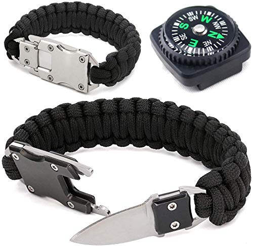Paracord Woven Bracelet-10.6 in with Stainless Steel Knife Blade & Durable Cord. Self Defense Gear & Survival Kit for Hiking, Camping, Fishing & Hunting. Useful Handy Tool in Daily Life. (Silver)