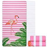 Alishomtll mikrofaser Strandtuch Flamingo groß mit Motiv Badetuch weich Stranddecke Ultraleicht Handtuch Saugfähig Schnelltrocknend 80 x 150CM Pink