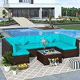 Merax 7 Pieces Patio, Weather PE Sectional Garden Furniture Corner Sofa Set for Backyard and Pool, Blue+Rattan