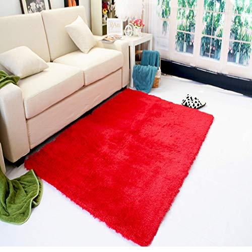 GQDP 2019 Gewaschene Seide Haar rutschfeste Teppich Wohnzimmer Couchtisch Schlafzimmer Nacht Yoga-Matte dicken Teppich großen roten 120 * 160cm