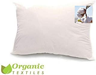 100% Organic Cotton Pillow, Medium Filled (Standard Size) with 100% Organic Cotton Cover Protector, Zippered, Adjustable Loft, Toxic Free, Machine Washable, Head and Neck Comfort Support