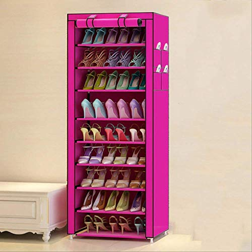 SFBBAO Zapatero 10 Niveles Simple Shoe Rack Shoe Storage Dustproof Oxford Cloth Assembly Cabinet Space Saving Shoe Organizer para Puerta 160 * 60 * 30CM Rojo Rosa