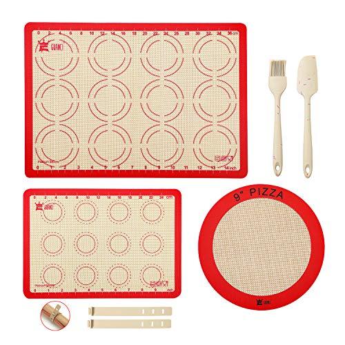 5-Piece Silicone Baking Mat Set,GUANCI 1PCS 16-1/2'x11-5/8'Rolling Macaron Baking Mat&1PCS 11-3/4'x 8-1/4'Baking Mat&1PCS 9'Round Pizza Mat&1 Set Silicone Baking Brush/Spatula for Macaroon/Pizza/Bread