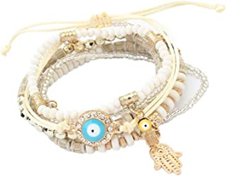 Bohemian Beads Multi Strand Hamsa Hand Evil Eye Charms Stretch Bracelet Set (bl003164)