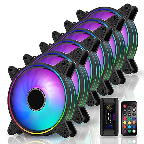 EZDIY-FAB Moonlight 120mm RGB Caso Ventilador con Hub X y Remote,Placa Base Aura Sync,Control de Velocidad,Ventilador Direccionable para PC Case-6 Pack