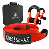 """Miolle Offroad Recovery Set Tow Strap 4""""x30'- 40000lb MBS - Lab Tested Tow Straps Heavy Duty with Hooks for Truck, Jeep, SUV…"""