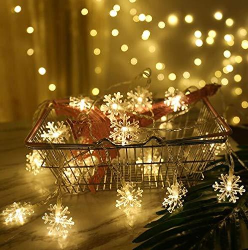 Schneeflocke Lichterketten,3M 20 Stück LED batteriebetriebene Lichterketten,Lichterkette Weihnachtsbeleuchtung,für Festival,Party,Zuhause sowie Garten, Fenster (warmweiß)
