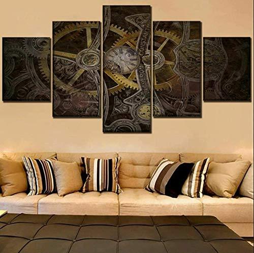 Impresión De 5 Paneles Cuadro En Lienzo Reloj Old Classic Gears Mural Moderno 5 Piezas Cuadros Decoracion 5 Lienzo Impresión, Modular Poster Mural, Listo Para Colgar