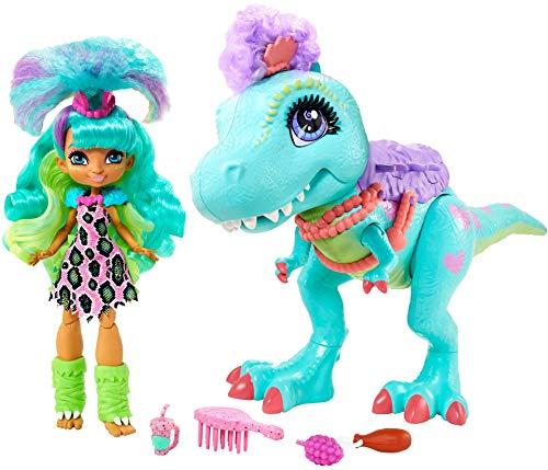 Cave Club Muñeca Rockelle con Mascota Dinosaurio Azul, conjunto con accesorios para niños y niñas +4 años (Mattel GTL69)