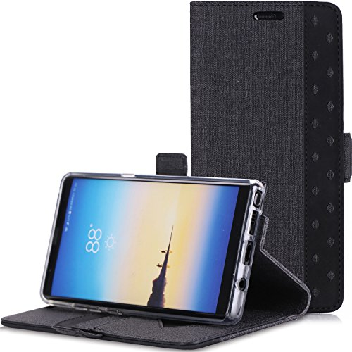 ProCase Galaxy Note 8 Wallet Case, Folio Folding Wallet Case Flip Cover Protective Case for Galaxy Note 8 2017 Release, with Card Holder Kickstand -Black