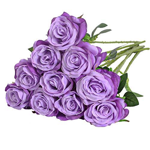 Nubry Flor de Rosa de Seda Artificial de un Solo Tallo de Rosa Falsa para el Ramo de Bodas Arreglos Florales Decoración del Centro de Mesa para Fiestas en casa, 10pcs (Gradiente Luz Púrpura)