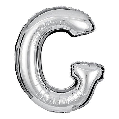 ballonfritz® Globo letra G en plata – XXL 102 cm – Globos para aire o helio como regalo de cumpleaños, aniversario, boda o graduación, decoración de fiesta o sorpresa