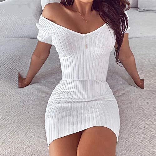 Off Shoulder Elegant Damen V-Ausschnitt Slim Knit Frauen Bodycon Kleid Sexy Casual Mini Kurzarm Partykleid Sommer-Weiß_S.