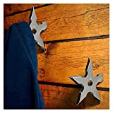 Coat Hooks Coat Hooks Ninja Star Shape Stainless Steel Creative Wall Door Hook Clothes Hats Hanger Holder Home Decoration (Color : Silver)