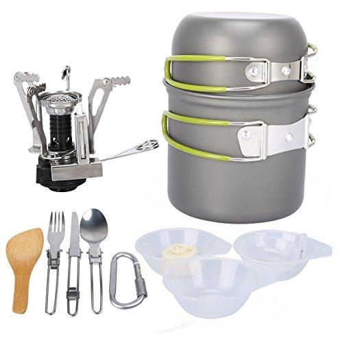 Wisdomx Camping Randonnée Kit de Batterie de Cuisine en Alliage d'aluminium Batterie de Cuisine Pique-Nique Kit de Cuvette de Voyage pour 1-2 Personnes