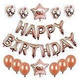 Decorazioni per feste di compleanno con striscioni di buon compleanno, palloncini in lattice e palloncini colorati con paillettes, palloncini in lattice per compleanni, matrimoni(Oro rosa)