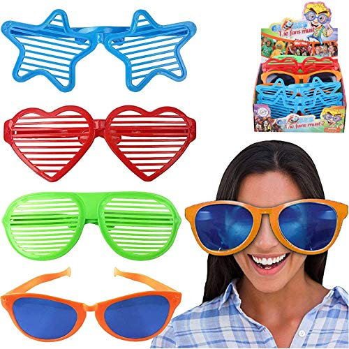 Liberty Imports Jumbo Sunglasses Novelty Plastic Photo Booth Glasses Fun Shutter Shades for Costumes Cosplay Props Party Supplies Variety (Pack of 12)