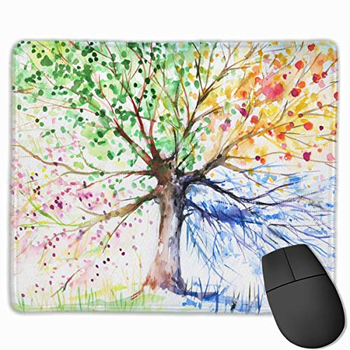 Watercolor Style Tree with 4 Seasons Theme Mouse Pad Customized, Colorful Gaming Mousepad with Non-Slip Rubber Base Premium Rectangle Mouse Mat for Laptop Computer