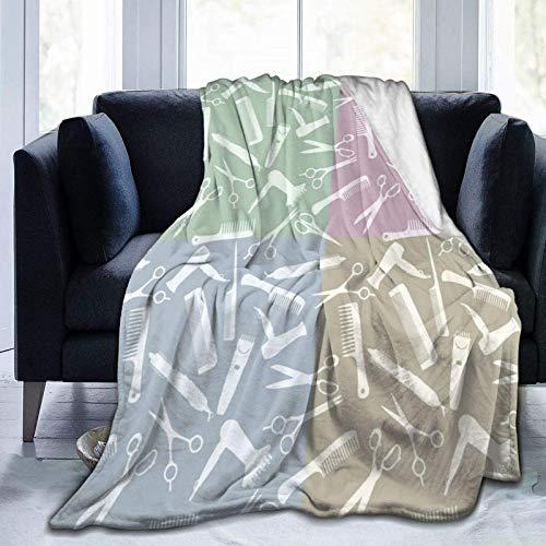 AEMAPE Manta de Tiro Peine Tijeras Patrón de Negros Manta cálida Manta Suave para sofá de Oficina en casa