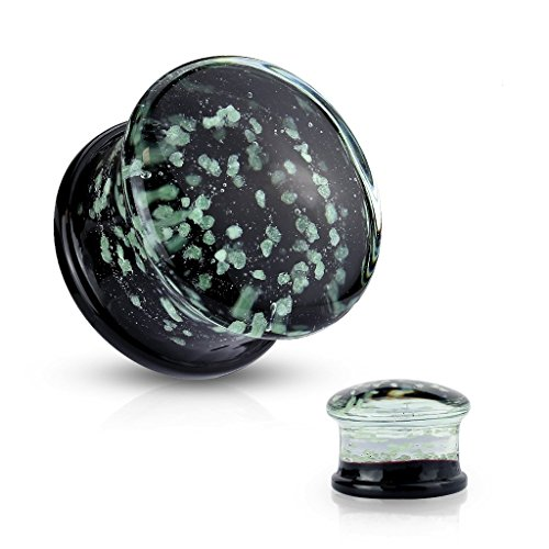 0GA (8mm) Glow In The Dark Sparkles Double Flared Pyrex Glass Flesh Tunnel Ear Saddle Plug Earring