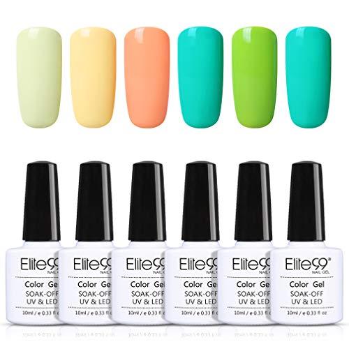 Elite99 Esmaltes Semipermanentes de Uñas en Gel UV LED 6 Colores de Macarrón Kit de Esmaltes de Uñas 003