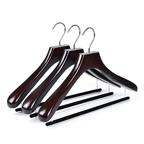 Quality Real Luxury Wooden Curved Suit Hangers Contour Body with Velvet Bar for Coats with Velvet Bar for Pants Mahogany Finish (3)