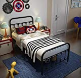 TEMMER Black Metal Bed Frame Twin Size with Headboard and Footboard Single Platform Mattress Base,Metal Tube and Iron-Art Bed(Twin,Black)