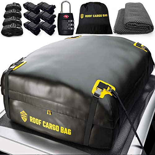Car Top Carrier Roof Bag | 15 or 20 Cubic ft + Protective Mat - for Cars with or Without Racks - Car Rack System Rack Adapter