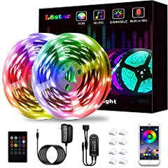 [32.8FT LED Strip Lights] 32.8FT Led strip lights are Low voltage (only 12V), Low heat, can be cut (every 3leds),portable, touchable, with dimmable function. Brightness adjustable, DIY, Multi-color, Comes with adhesive, Convenient and safe to use [AP...