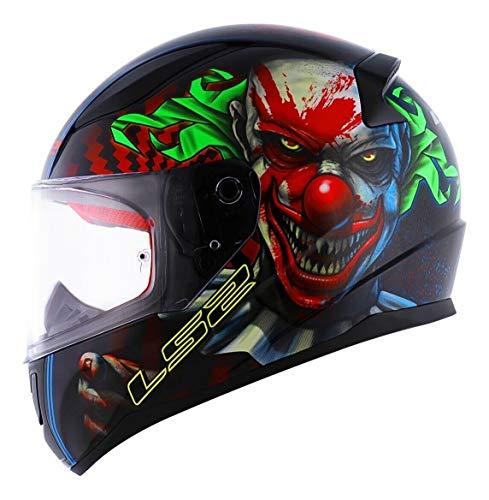 LS2 - Casco de Moto para Hombre, Deportivo, FF353 Rapid, Casco Integral de Carreras, Scooter, Full Face Glow in The Dark Happy Dreams, Scary Clown, M