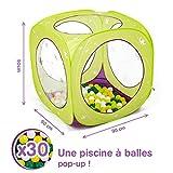 LUDI - Piscine à balles en tissu et structure pop-up 90 x 90 x 90 cm. Dès 12 mois. 30 balles incluses. Se plie et se range dans un sac. Tissu résistant pour une utilisation en extérieur - 2845